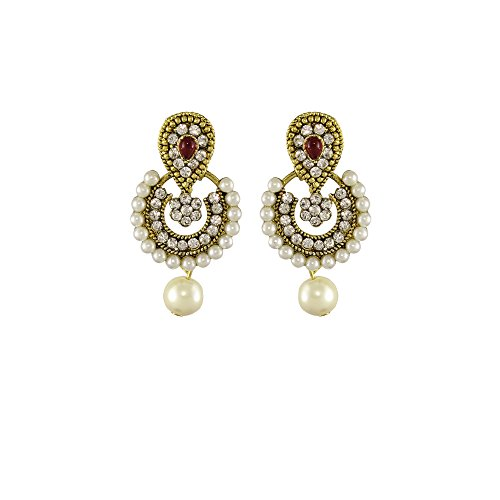 Unicorn Ethnic Ramleela Small Dangle Drop Earring in Kundan Stones & Pearls for Girls and Women - UENWER50130R  available at amazon for Rs.179