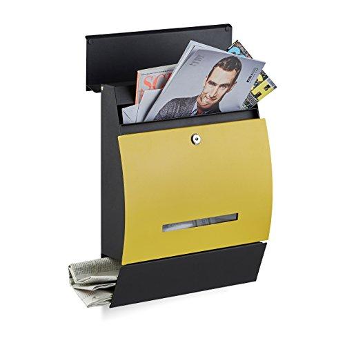 Relaxdays Design Briefkasten mit Zeitungsfach, Pulverbeschichtet, HxBxT: 45 x 35 x 11 cm, Wandbriefkasten, schwarz-gelb