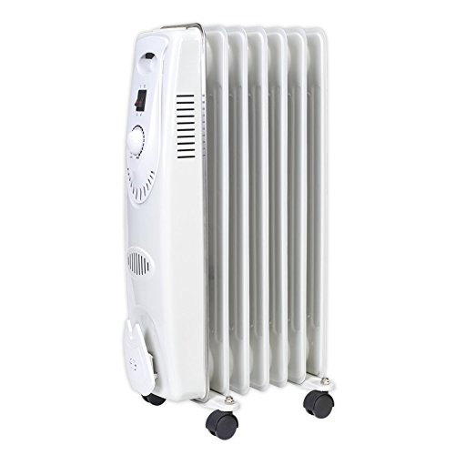 41DFP2WLEWL. SS500  - Sealey RD1500 Oil Filled Radiator, 1500W/230V, 7 Element, White