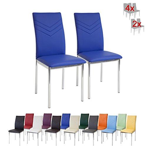 Albatros 2929 VERONA Set di 2 sedie da pranzo, blu, piede cromato, SGS tested