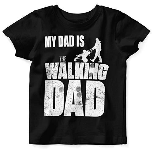 Mikalino Baby/Kinder T-Shirt mit Spruch für Jungen Mädchen Unisex Kurzarm My Dad is The Walking Dad | handbedruckt in Deutschland | Handmade with Love, Farbe:schwarz, ()