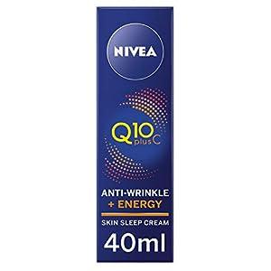 NIVEA Q10 + Vitamina C, crema de noche energizante, antiarrugas y antienvejecimiento, fórmula hidratante, crema facial para mujeres, (40 ml)