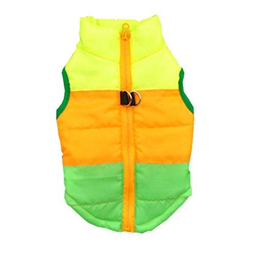 Haustierkleidung für Winter, Hmeng Warme Haustierjacke Druck Reißverschluss Hundemantel Welpen Sleeveless Strickjacke Kleidung 11 Farben (M, Grün)