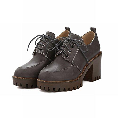 Mee Shoes Damen chunky heels Plateau runde mit Schn眉rsenkel Pumps Dunkelgrau