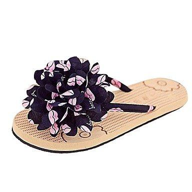 Damen Schuhe Libo neuen Stil flachem Absatz Blume Comfort Casual sonnigen Flip Flops Sandalen Schwarz/Rosa US5.5 / EU36 / UK3.5 / CN35