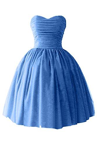 Victory bridal à coeur abendkleider court tuell promkleider ballkleider brautjungfernkleider en satin Bleu