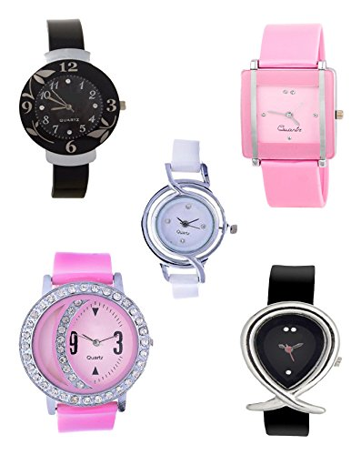 Woman Watch(Madhav Fashion Attractive Multi Color Analog Watch - For Pack Of 5)