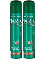 Narta - Déodorant Homme Atomiseur Anti-Transpirant Classique Efficacité 24h - 200 ml - Lot de 2