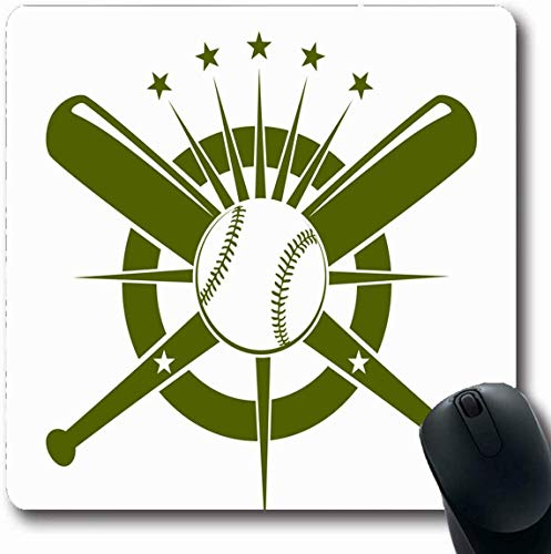 Luancrop Mousepad Längliche Wettkampf Green Bat Baseball Championship Emblem Ball Auf Sport Erholung Team American Badge Büro Computer Laptop Notebook Mauspad, rutschfeste Gummi -