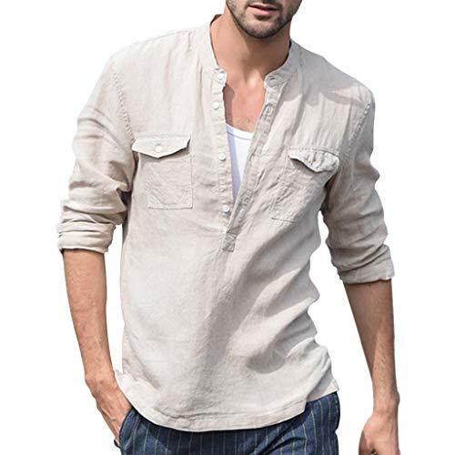ZHANSANFM Herren Leinenhemd Button Down Stehkragen T-Shirt Leinen und Baumwolle mit Pocket Langarm Shirt Einfarbig Einfach Top Sommer Gentleman Hemden -