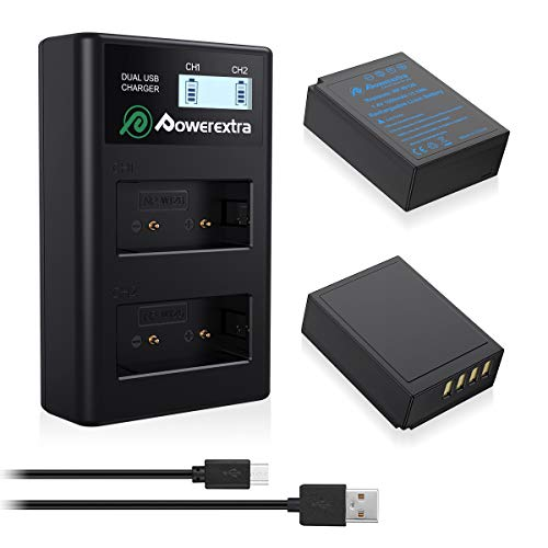 Powerextra 2 X NP-W126 Battery & LCD Charger for Fuji X100F X-A1 X-A2 X-A3  X-A5 X-A10 X-E2 X-E2S X-Pro1 X-Pro2 X-T1 X-T2 X-T3 X-T10 X-T20 X-T100 X-H1