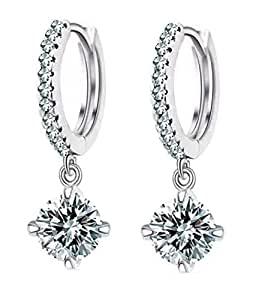 Shining Diva Fashion Silver Platinum Plated Austrian Crystal Hoop Earring For Women (Silver) (r7420er)