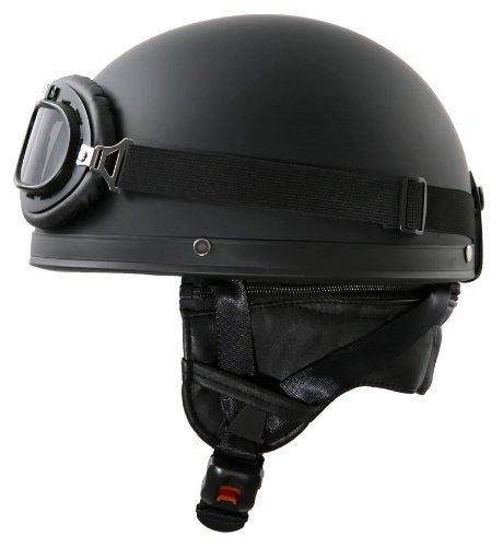Oldtimer Motorradhelm mit Brille Größe: M 57/58cm, Schwarz matt