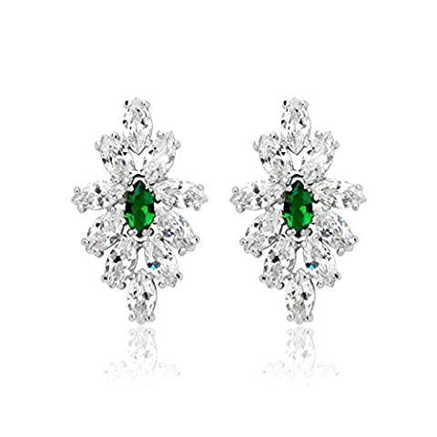Epinki White Gold Plated Womens Stud Earring 4-Prong Green Cubic