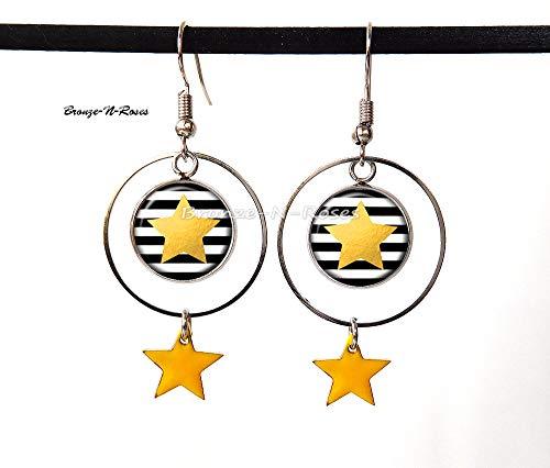 Ohrringe mit gelbem Stern und schwarzen Streifen (Schwarz N Gelb)
