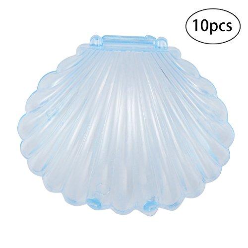 Stobok 10 pz scatole per bomboniere a forma di guscio decorazioni per feste di matrimonio compleanno (blu trasparente)