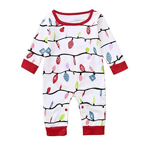 Togelei Neugeborenen Baby Boy Strampler Overall Familie Pyjamas Nachtwäsche Weihnachten Outfit Weihnachten Laterne Druckmuster Eltern-Kind-Set Unisex Cotton Fashion O-Neck Weihnachten Kostüm