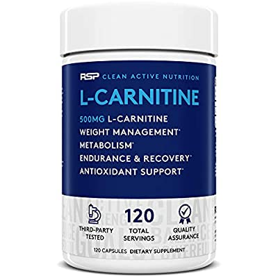 RSP L-Carnitine: Non-Stimulant L Carnitine, Weight Loss Supplement and Fat Burner for Men and Women, Amino Acid Workout Diet Pills, 500 milligrams, 120 Capsules from Rsp Nutrition