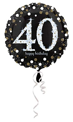 Gold Element Kostüm - amscan 3213001 Folienballon 40 Sparkling Birthday, Schwarz, Silber, Gold
