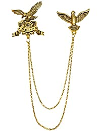 Ammvi Creations Royal Hawks Exclusive Tassled Chains Gold Foamed Brooch Lapel Pin For Men