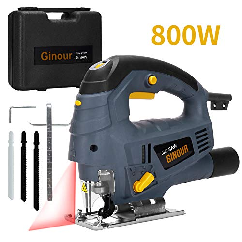 Ginour seghetto alternativo, 800w 3000rpm 7 velocità seghetto con laser, doppio taglio smusso (-45 ° -45 °), tubo per vuoto, 6 accessori, filo da 10ft seghetto alternativo per elettrico legno
