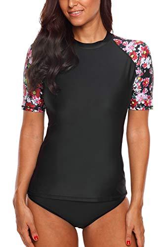 Vegatos Damen Rash Guard Kurze Ärmel Mode Badeanzug Uv Schutz Schwimmshirt Sportlich Badeshirt Schwarz XL