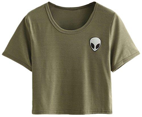 OLIPHEE Damen Alien Gedruckt Short Sleeve T-Shirt Casual Crop Tops Armygrün