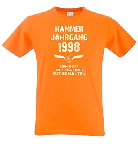Geschenk Set : Geschenkidee 19. Geburtstag ::: Hammer Jahrgang 1998 ::: Herren T-Shirt & Urkunde Geburtstagskind des Jahres ::: Farbe: schwarz Orange