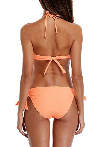 CharmLeaks Damen Bikini Set Mit Bügel Und Schalen Cups Push Up Bikini Brasil Serie Orange