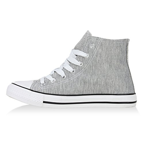 Damen Sneakers Kult Sportschuhe Stoffschuhe Schnürer Grau