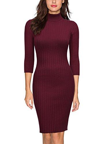 Miusol Damen 3/4 Aermel Wollkleid hoher Kragen Figurbetontes Strickkleid Pullover Kleid Weinrot Gr.46/48/L -