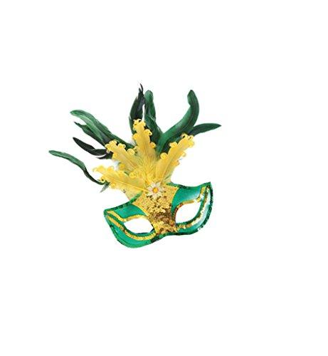 Federdomino Brasil, sortierte Farben, Maske, Karneval, Mottoparty, Accessoire (Brasilianische Karnevals Masken)