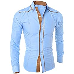 Tefamore Camisa blusa superior hombres de manga larga de Moda Formal personalidad (M, Azul)