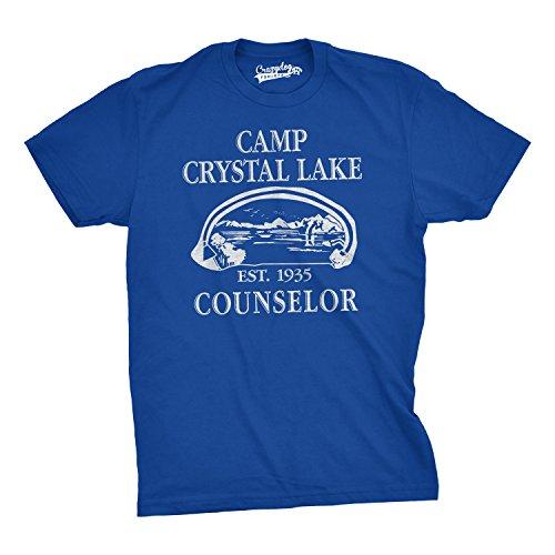 Crazy Dog TShirts - Mens Camp Crystal Lake T shirt Funny Shirts Camping Vintage Horror Novelty Tees (Blue) XXL - herren - XXL Camp Crystal Lake