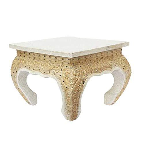 Oriental Galerie Opiumtisch Opium Tisch Beistelltisch Massiv Holz Couchtisch Nachttisch Hocker - 25cm Weiß Antik
