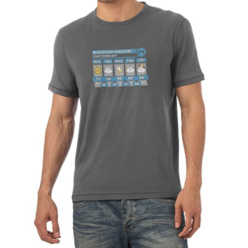 TEXLAB - Mushroom Kingdom Weather Forecast - Herren T-Shirt, Größe XL, grau (Prinzessin Toadstool Kostüme)