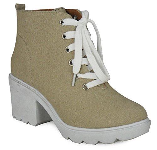 LoudLook New Womens Ladies Khaki Stone Black Canvas Suede Lace Up Platform High Heel Shoe Size 3 4 5 6 7 8