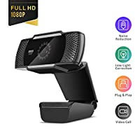 Web Cameras for Computers, 1080P USB Webcam with Microphone for PC/Laptop/Desktop/Video Calling/Conferencing etc [Full HD 1080P][Noise Reduction Digital Mic][Plug and Play]