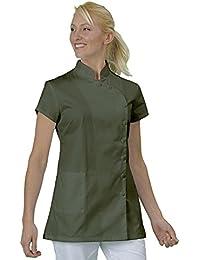 Casaca de trabajo para estética, tipo blusa, tela con acabado inarrugable, fabricación francesa, de manga corta, con botones a presión