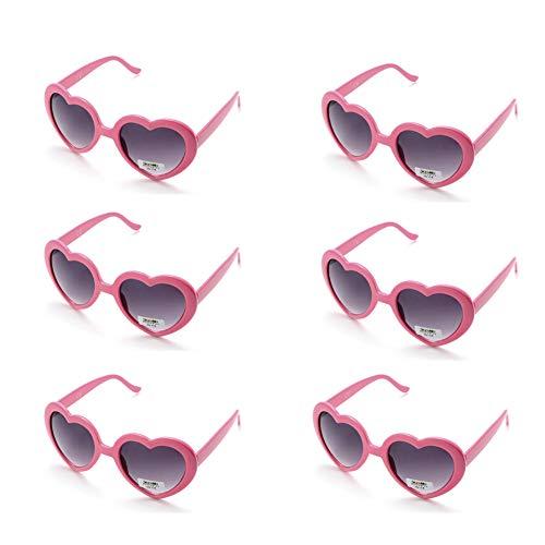 Onnea 6 Neonfarben Herzform Party favorisiert Sonnenbrillen, Multi Packs (6-Pack Rosa)