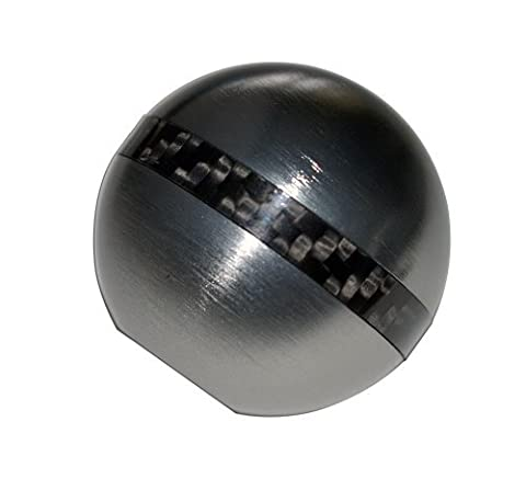 8x1.25MM GUNMETAL Grey Gray Silver ROUND Ball SHIFT KNOB with CARBON FIBER RING Billet Aluminum MANUAL AUTOMATIC Transmission Shift Stick Selector (Threaded - NO Adapters) for Mazda Mazdaspeed 3 6 CX-7 i S Grand Touring MX-5 Miata Sedan Hatchback Convertible SV Sport (other cars with 8x1.25mm Thread)
