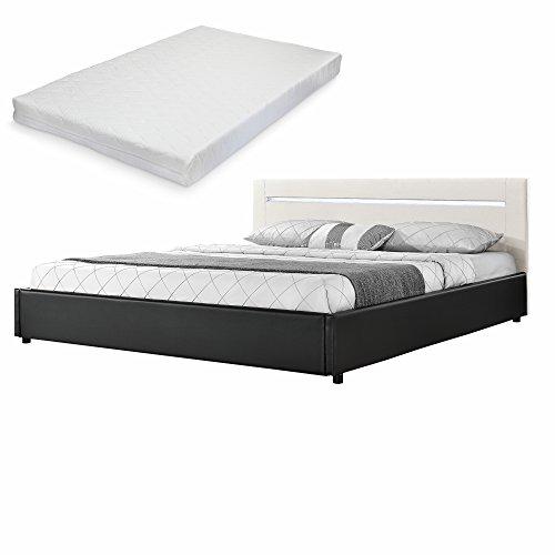[my.bed] Elegantes LED Polsterbett mit Kaltschaum-Matratze (H2) – 180x200cm – (Kopfteil: Textil Creme – Fuß-und Seitenteil: Kunst-Leder schwarz) –
