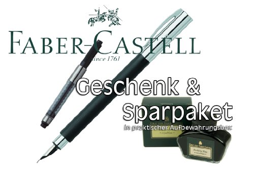 Faber Castell AMBITION Edelharz Füllfederhalter Stärke F + Konverter + Tintenglas Royalblau |...
