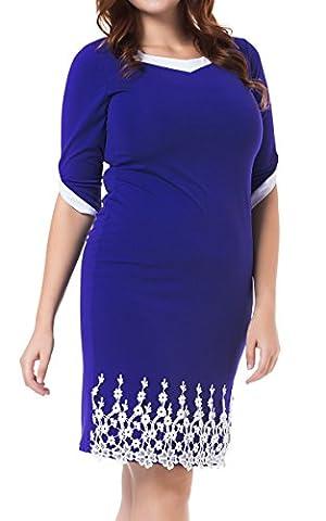 DKBAYA Women's Plus Size Elegant Venetian Petal Half Sleeves Party Cocktail Ladies Dress