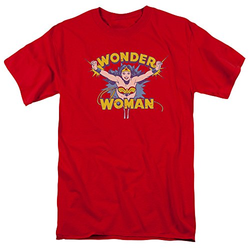 Trevco Men's Dc Wonderwoman Flying Through Adult T-Shirt