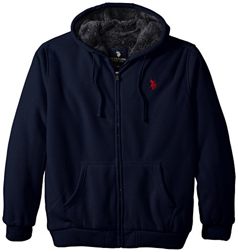 U.S. Polo Assn. Men's Big-Tall Fleece Hoodie with Sherpa Lining, Classic Navy, 3X Big And Tall Mens Fleece