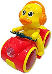 Popsugar Musical Bump and Go Duck Motorcycle with Flashing Lights Toy for Boys and Girls, Multicolour
