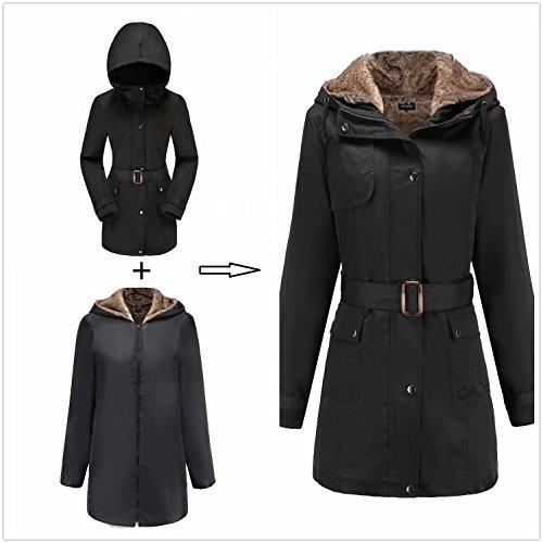 Damen Warm Trenchcoat Mit Abnehmbaren Liner Lang Daunen Mantel Kunst Fell Winter Jacke Schwarz DE:36 / US:XS - 2