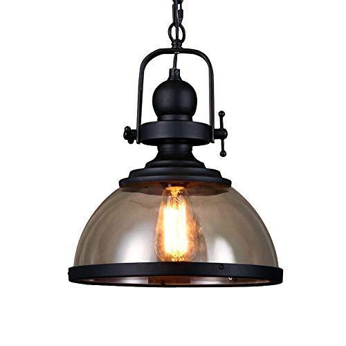 Retro Pendelleuchte Glassschirm Rund Design Vintage Küche Lampe Hängeleuchte E27 Eisen Hängelampe Rustikal Wohnzimmer Esszimmer Arbeitszimmer Beleuchtung Restaurant Leuchte Deckenleuchte Ø31cm -
