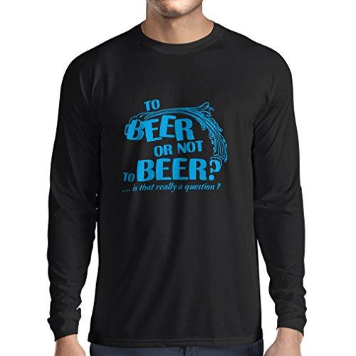 N4176L Zum Bier oder nicht zum Bier ... lustiges Geschenk, Langarm T-Shirt Schwarz Blau